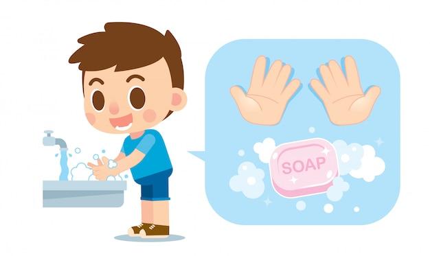 Netter junge, der hände mit seife und handikone wäscht Premium Vektoren