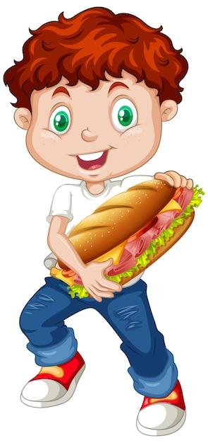 Netter junge, der sandwich hält Kostenlosen Vektoren