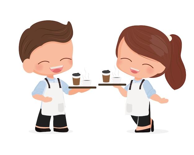 Netter junger kaffeecafékellner oder barista der netten karikatur in der blauen hemduniform Premium Vektoren