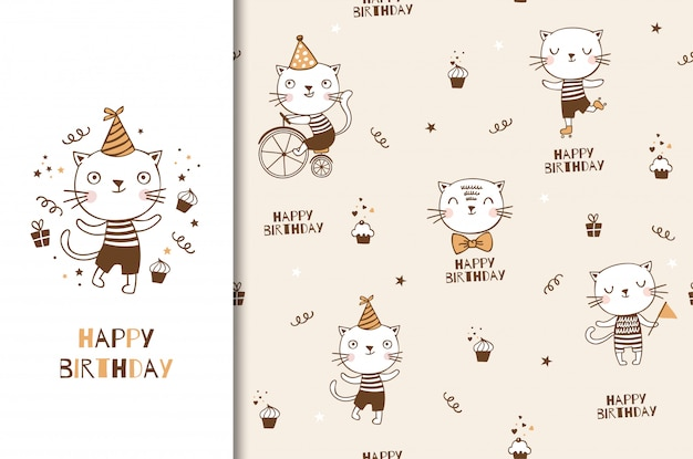 Netter kätzchenkatzenbabycharakter. kindergeburtstagskarte und dekorativer partyhintergrund. hand gezeichnete karikatur-tierdesignillustration. Premium Vektoren