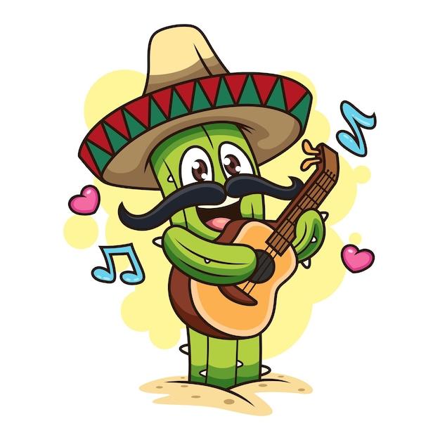 Netter kaktus, der gitarre spielt. cartoon icon illustration. pflanzen-symbol-konzept isoliert auf weißem hintergrund Premium Vektoren
