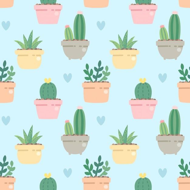 Netter kaktus des nahtlosen musters in der seite der topf auf blau Premium Vektoren