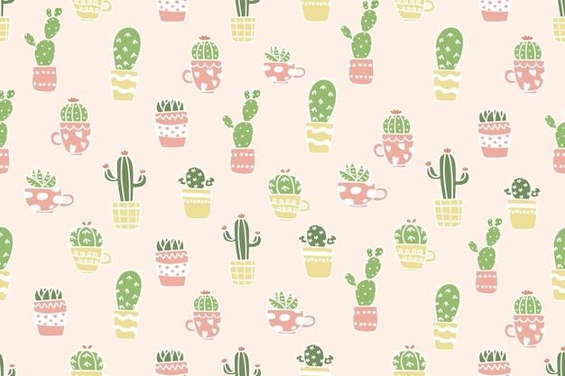 Netter kaktus im topfmusterhintergrund. Premium Vektoren