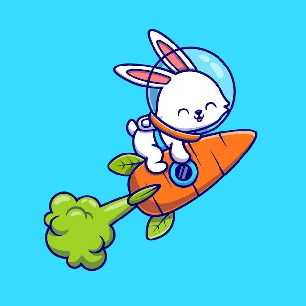 Netter kaninchenastronaut, der mit karottenraketen-karikatur-symbol-illustration fliegt. tier-technologie-symbol-konzept isoliert. flacher cartoon-stil Kostenlosen Vektoren