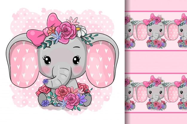 Netter karikatur-elefant mit blumen Premium Vektoren
