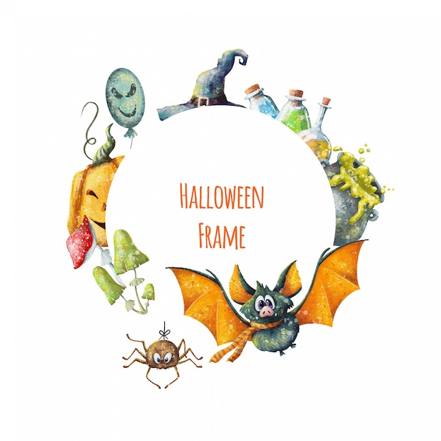 Netter karikatur halloween-rahmen Premium Vektoren