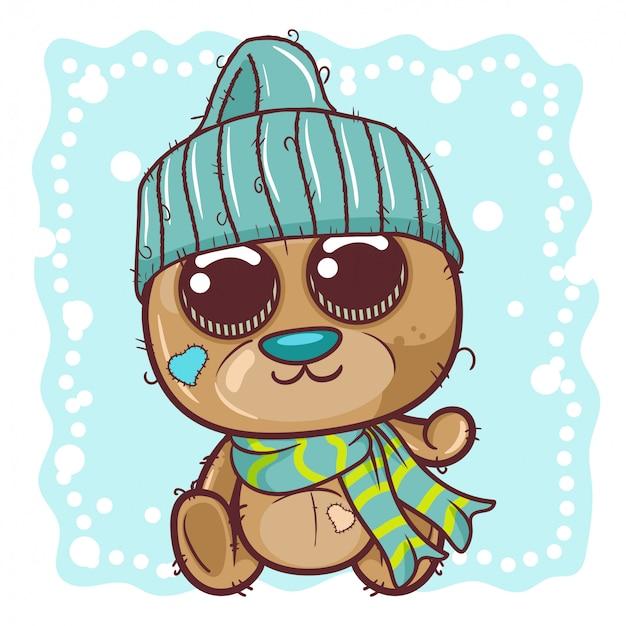 Netter karikatur-teddybär in einer strickmütze sitzt auf einem schnee - vektor Premium Vektoren