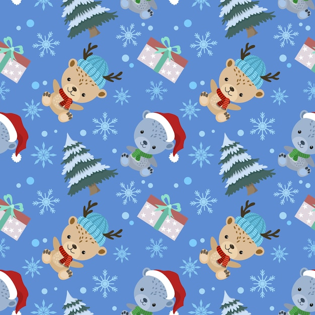 Netter karikaturbär tragen weihnachtsmütze mit baum und nahtlosem geschenkmuster. Premium Vektoren