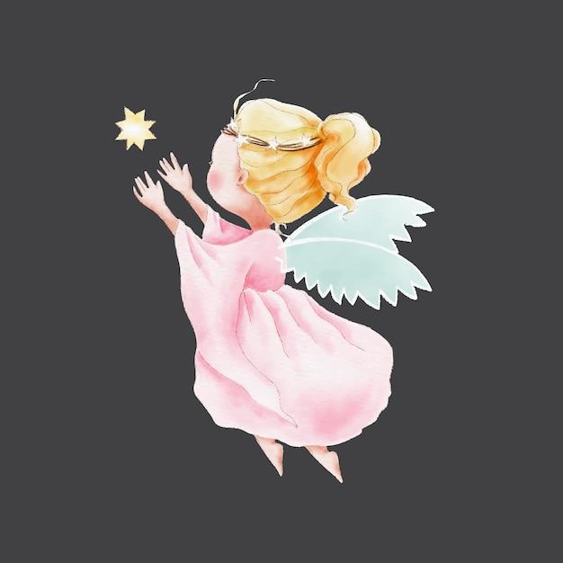 Netter karikaturengel des aquarells, der zum himmel für stern fliegt Premium Vektoren