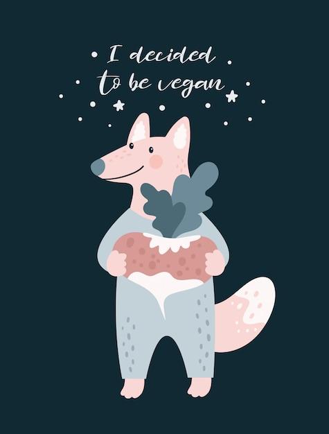Netter karikaturfuchswolf vegan Premium Vektoren