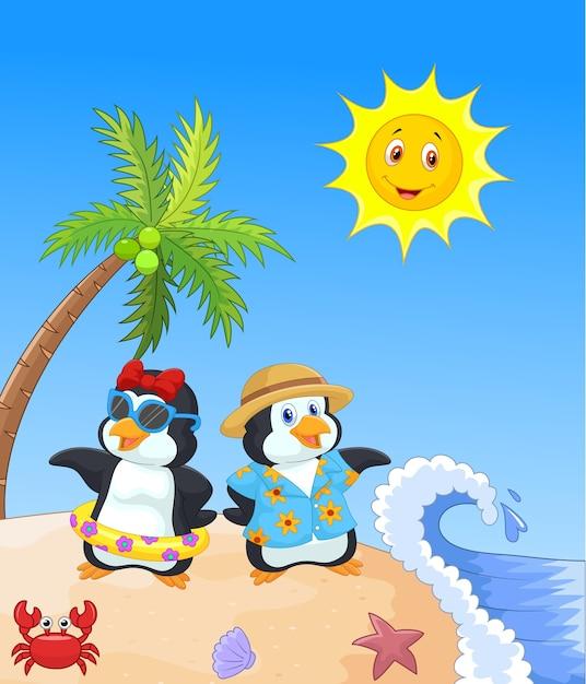 Netter karikaturpinguin in den sommerferien Premium Vektoren