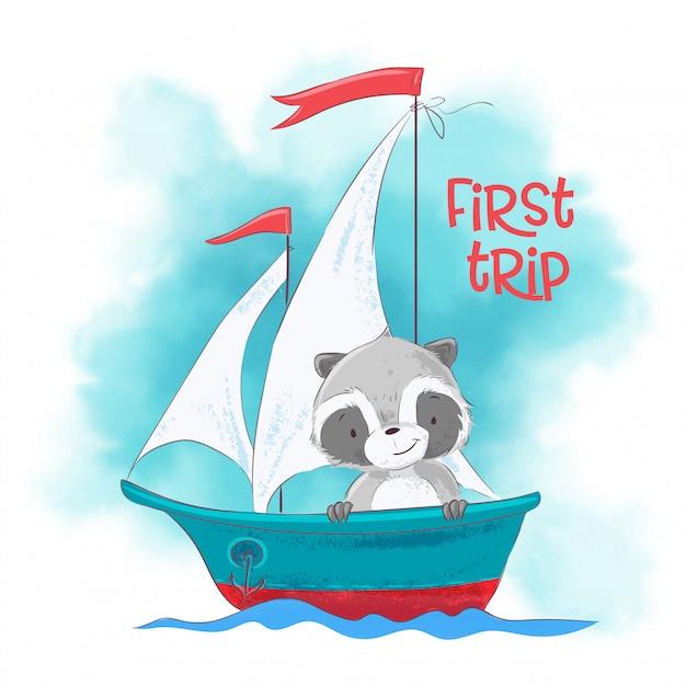 Netter karikaturwaschbär auf einem segelschiff. Premium Vektoren