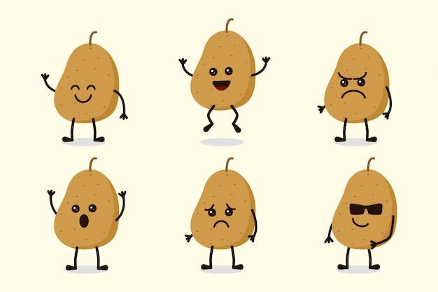 Netter kartoffel-gemüsecharakter lokalisiert in den mehrfachen ausdrücken Premium Vektoren