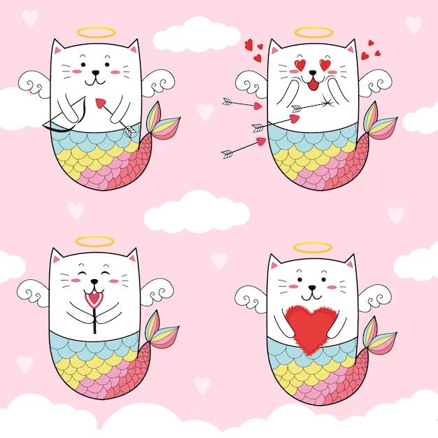 Netter katzennixe-amor für valentinstag. Premium Vektoren