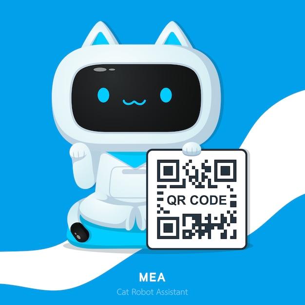 Netter katzenroboter-assistentcharakter oder maneki neko in japan geld mit qr codeillustrationen fordernd Premium Vektoren