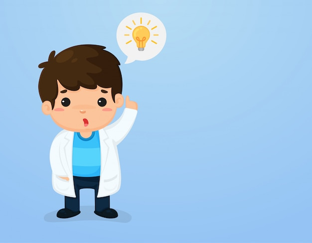 Netter kindercharakter in einer wissenschaftlerklage, die herauf die unterrichtsmedien der wissenschaft des himmels zeigt. Premium Vektoren