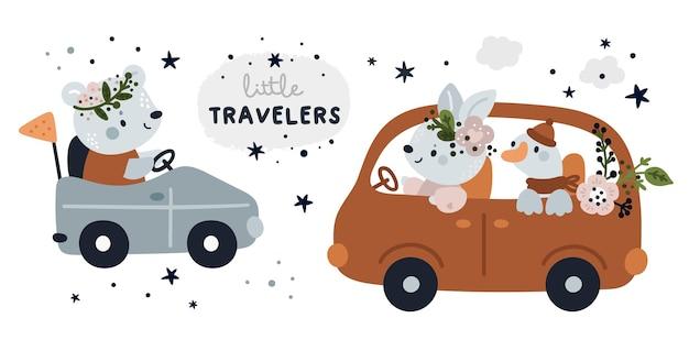 Netter kindlicher satz mit karikaturbabys im auto. meilensteinsammlung mit kleinen reisenden Premium Vektoren