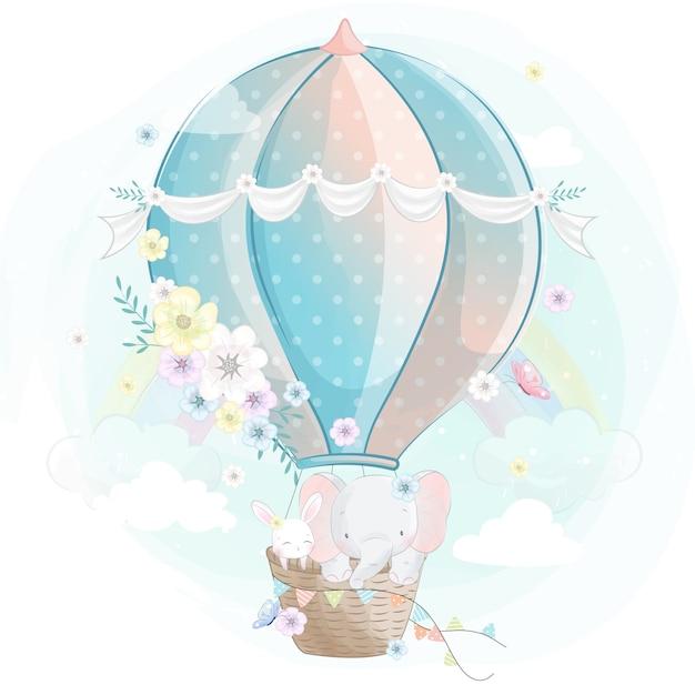 Netter kleiner elefant mit häschen im luftballon Premium Vektoren
