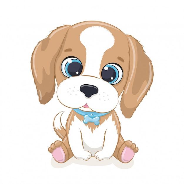 Netter kleiner hund. Premium Vektoren