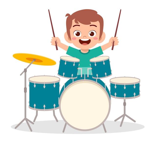 Netter kleiner junge spielen trommel im konzert Premium Vektoren