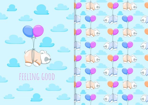 Netter kleiner panda-cartoon mit ballon, illustrationen und nahtlosem muster für kinder Premium Vektoren