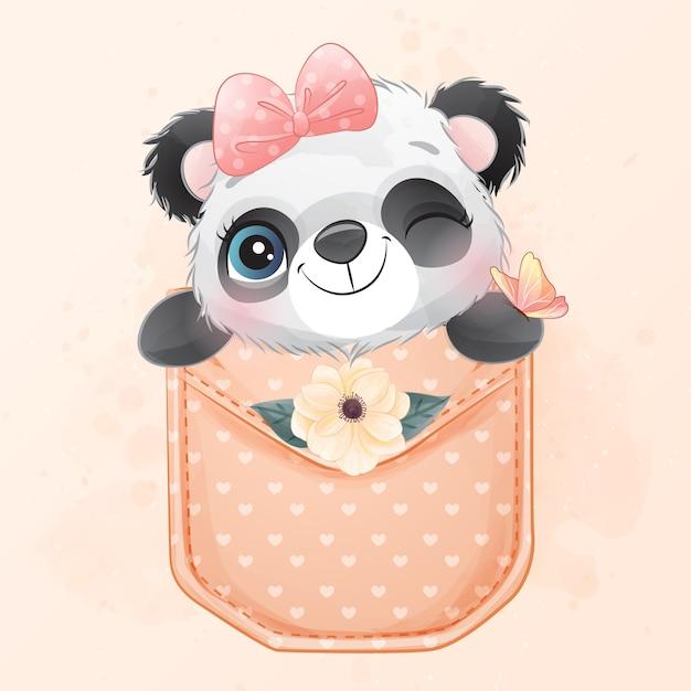 Netter kleiner panda, der innerhalb der taschenillustration sitzt Premium Vektoren