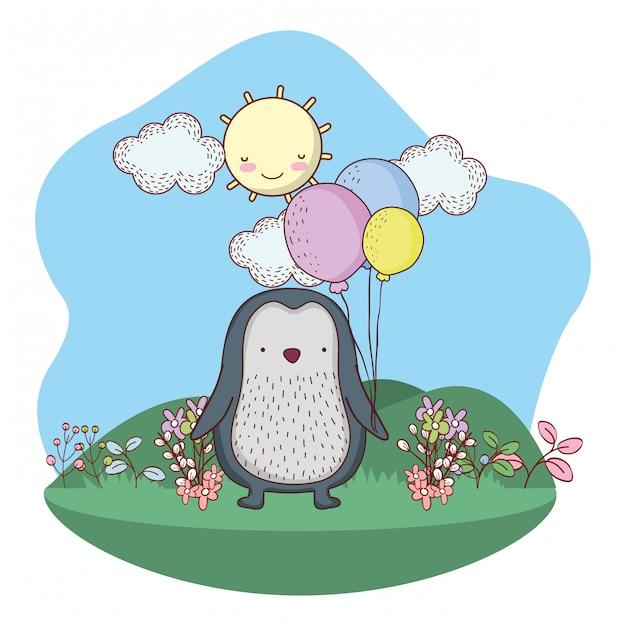 Netter kleiner pinguin mit ballonhelium auf dem gebiet Premium Vektoren