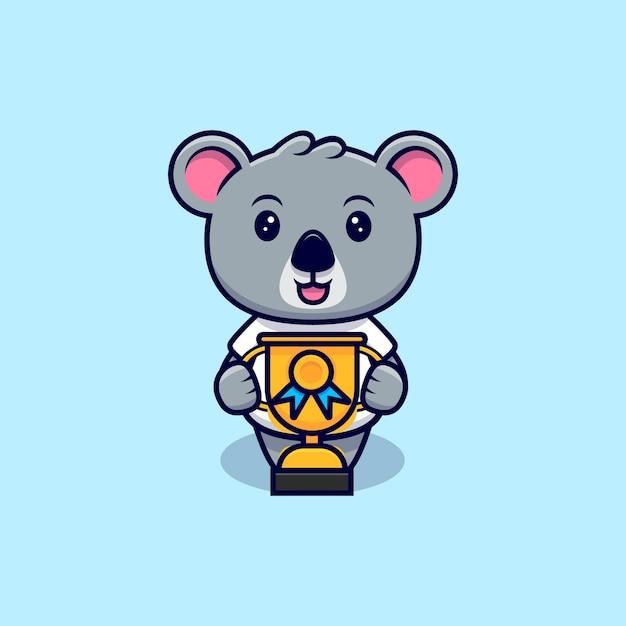 Netter koala bekam einen trophäen-maskottchen-cartoon Premium Vektoren
