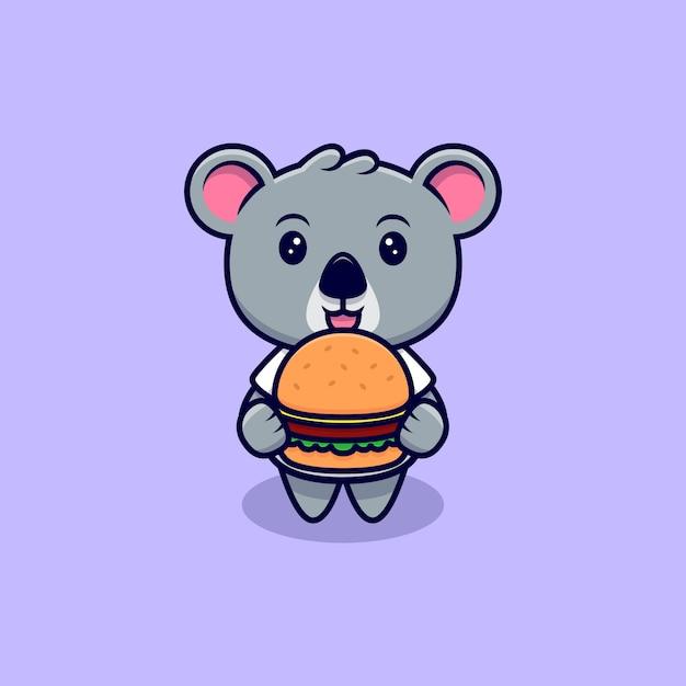 Netter koala bringen sie einen burger maskottchen cartoon Premium Vektoren