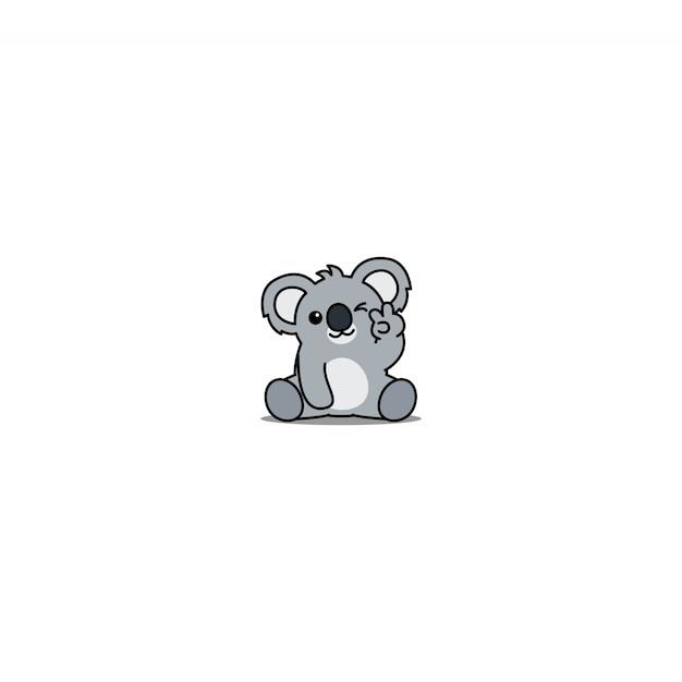 Netter koala, der augenkarikatur blinzelt Premium Vektoren