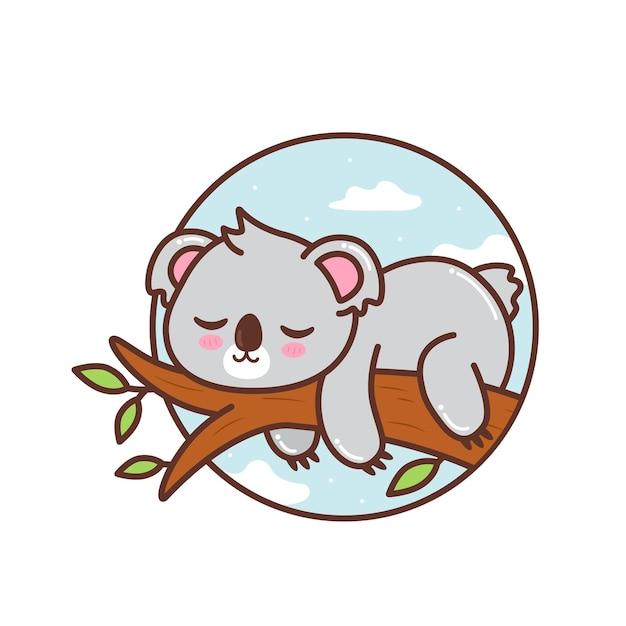 Netter koala, der im ast schläft Premium Vektoren