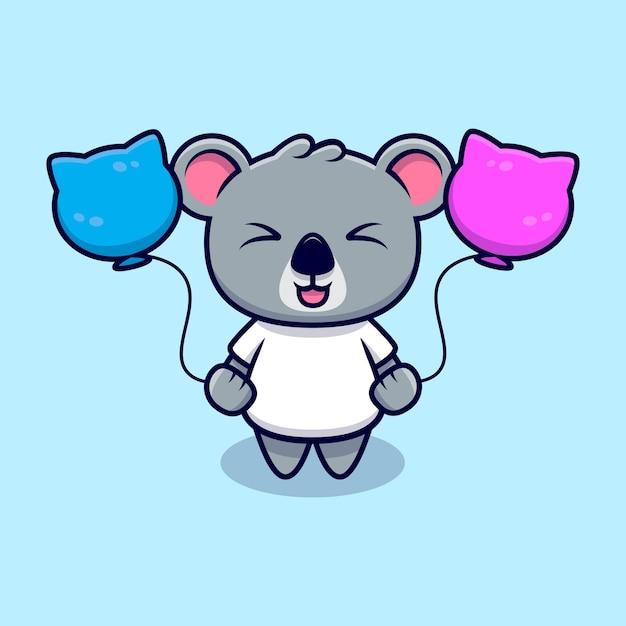 Netter koala, der mit ballon-maskottchen-karikatur spielt Premium Vektoren