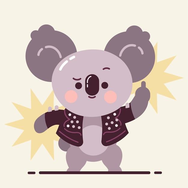 Netter koala, der mittelfinger schwört Kostenlosen Vektoren