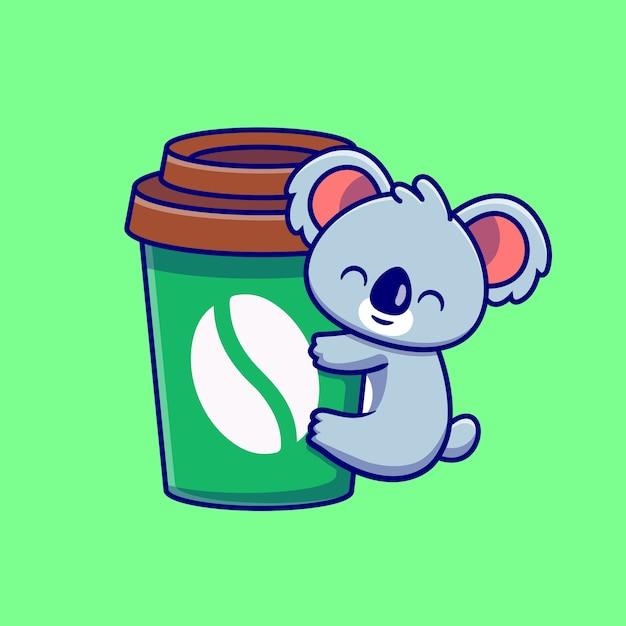Netter koala hug kaffeetasse cartoon Premium Vektoren
