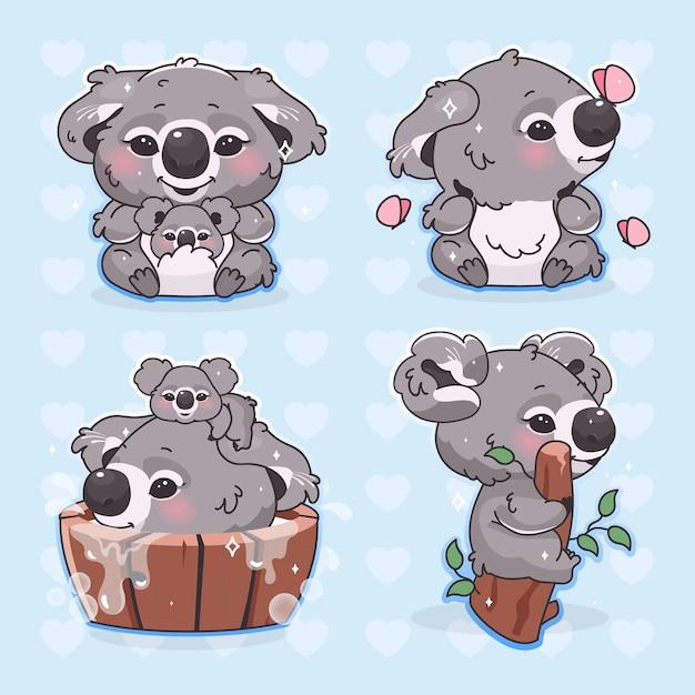 Netter koala kawaii karikaturvektorzeichensatz. entzückendes und lustiges lächelndes tier, das mit fliegenden schmetterlingen isolierte aufkleber spielt Premium Vektoren