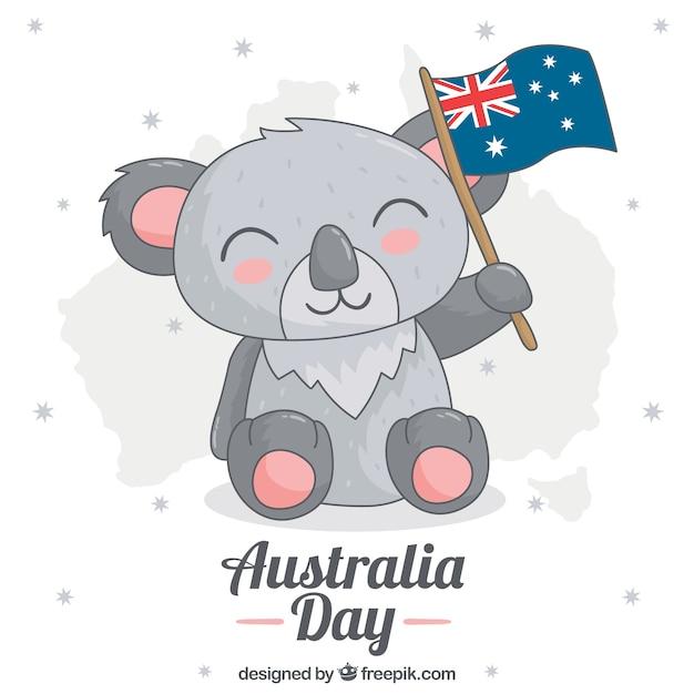Netter koala mit flagge australien-tag zu feiern Kostenlosen Vektoren