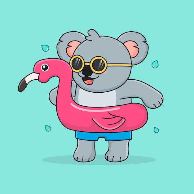 Netter koala mit schwimmringflamingo und sonnenbrille Premium Vektoren