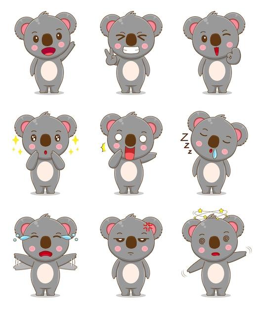 Netter koala mit unterschiedlichem ausdruck Premium Vektoren