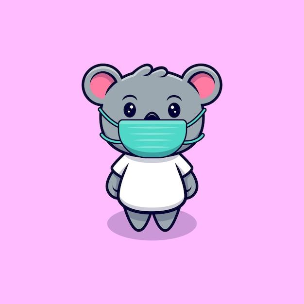 Netter koala tragender maskottchen-maskottchen-karikatur Premium Vektoren