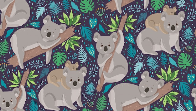 Netter koala umgeben durch tropische blätter Premium Vektoren