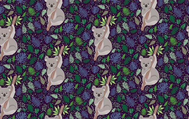 Netter koala, umgeben von blättern. nahtloses muster des sommervektors in der modischen art Premium Vektoren