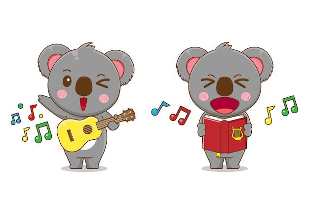 Netter koalabär singt und spielt gitarre isoliert Premium Vektoren