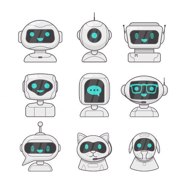 Netter lächelnder arbeitschatbot Premium Vektoren