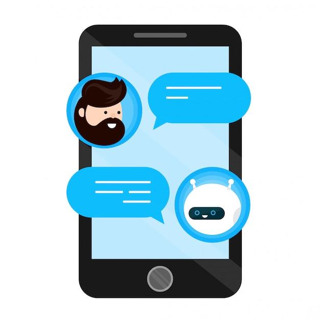 Netter lächelnder chatbot wird mit einem personenmann abgeschrieben. dialog auf dem smartphone-handy-bildschirm. wohnung im modernen stil cartoon charakter illustration symbol. isoliert auf weiss Premium Vektoren