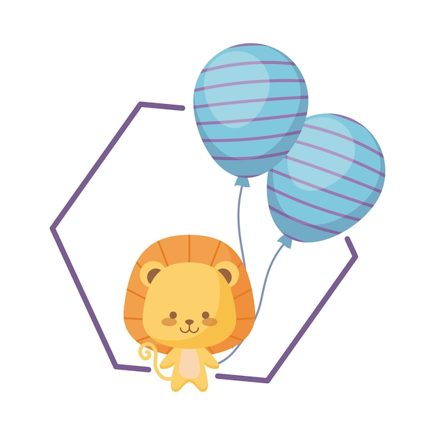Netter löwe mit ballonhelium Premium Vektoren