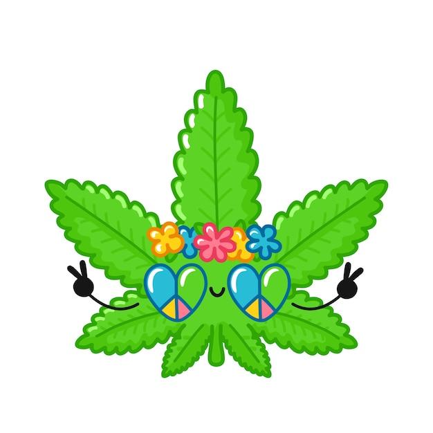 Netter lustiger glücklicher unkraut-marihuana-blatt-hippie-charakter. Premium Vektoren