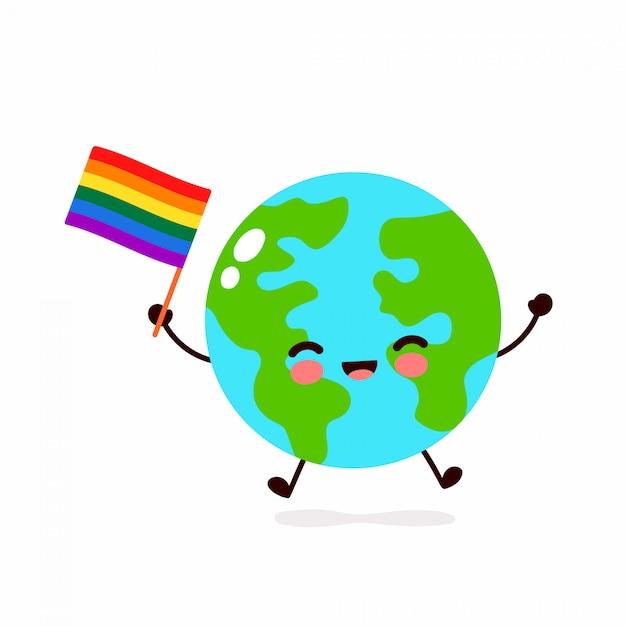 Netter lustiger lächelnder glücklicher erdplaneten-kartencharakter und flagge mit schwuler regenbogen-lgbt-flagge. cartoon charakter illustration icon design. menschenrechte. lgbtq. homosexuell stolz konzept Premium Vektoren