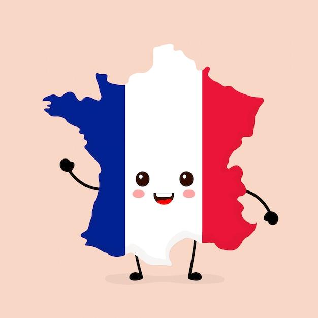 Netter lustiger lächelnder glücklicher frankreich-karten- und -flaggencharakter. Premium Vektoren