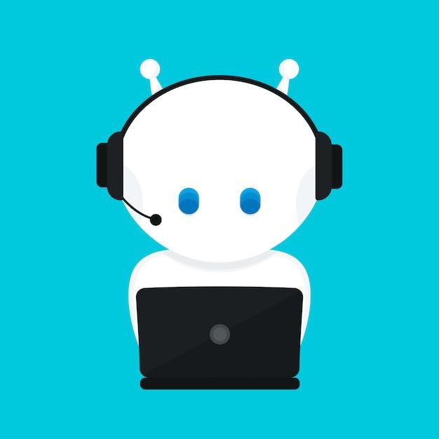 Netter lustiger weißer roboter, chatbot .moderne flache zeichentrickfigur abbildung.isolated auf blauem hintergrund. stimmunterstützungsservice chatbot, virtuelle online-hilfe kundenunterstützung Premium Vektoren