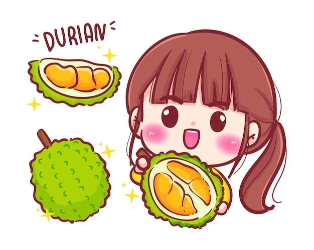 Netter mädchengärtner mit durianfrucht Premium Vektoren